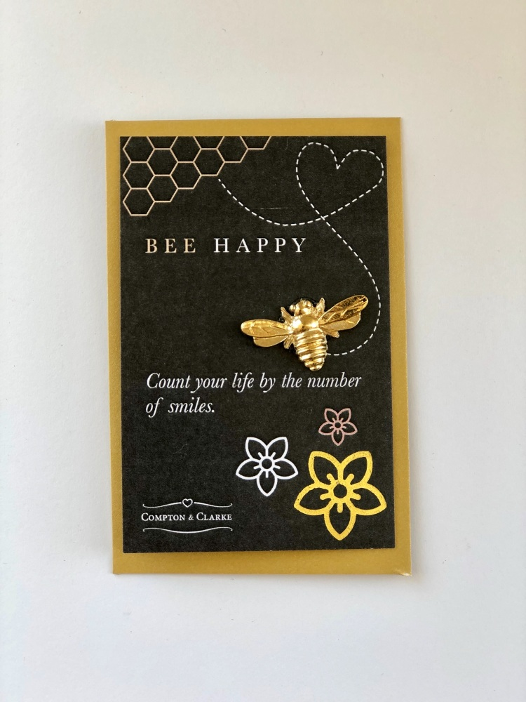 Gold Plated Pewter Bee Happy Token