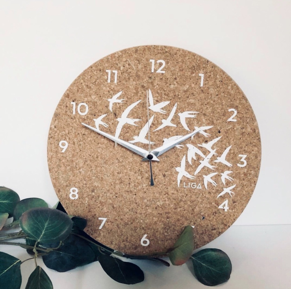 Cork Clock With A Swallow Design