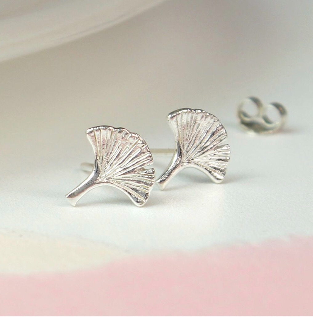 Silver Ginkgo Leaf Stud Earrings