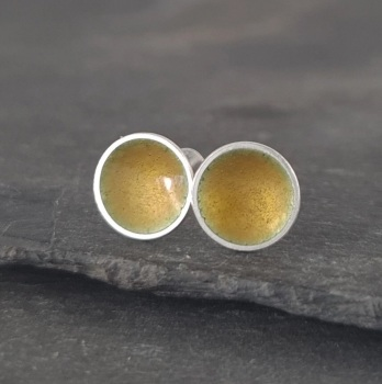 Handmade Enamel Studs In Golden Honey