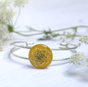 Handmade Silver And Resin Bangle In Mustard