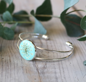 Handmade Silver And Resin Bangle In Mint