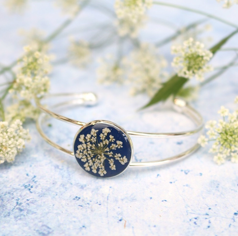 Handmade Silver And Resin Bangle In Navy