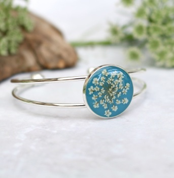 Handmade Silver And Resin Bangle In Teal