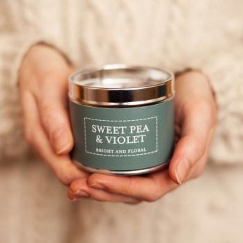 Sweet Pea Fragrance Candle Tin