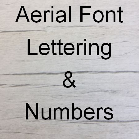 Arial font Letters words and names
