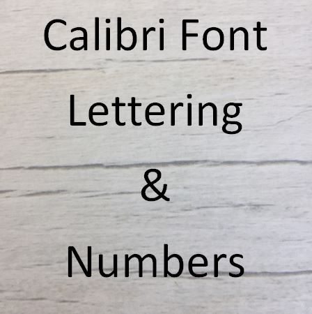 Calibri font Letters words and names