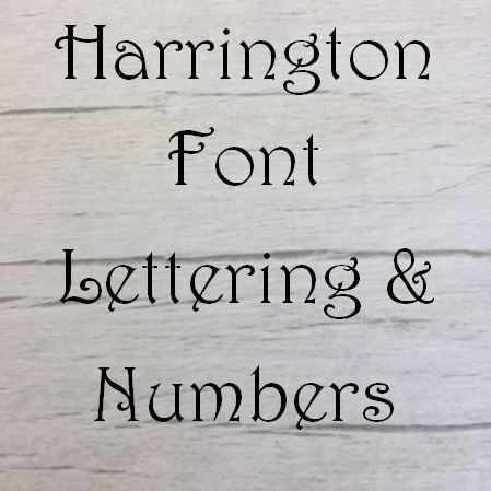 Harrington font Letters words and names