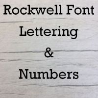 Rockwell font Letters words and names
