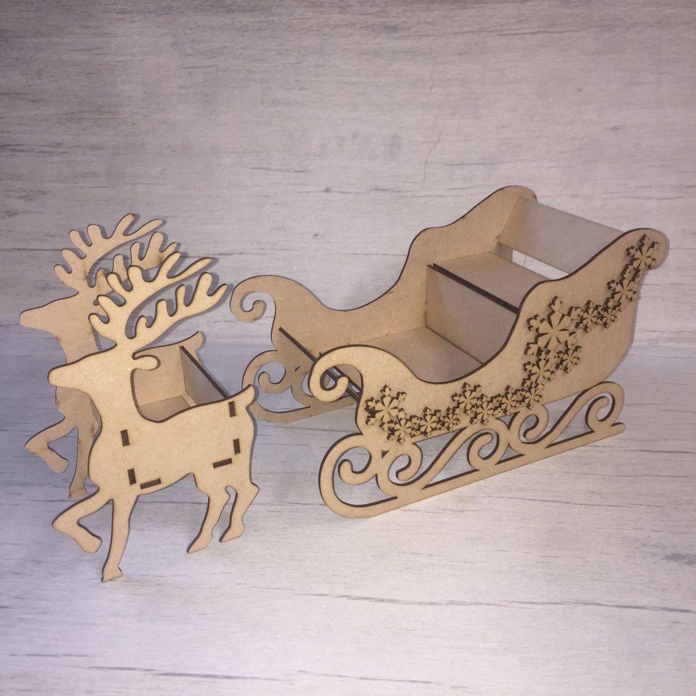 MDF Wooden Sleigh Santa Sleigh and reindeer kit