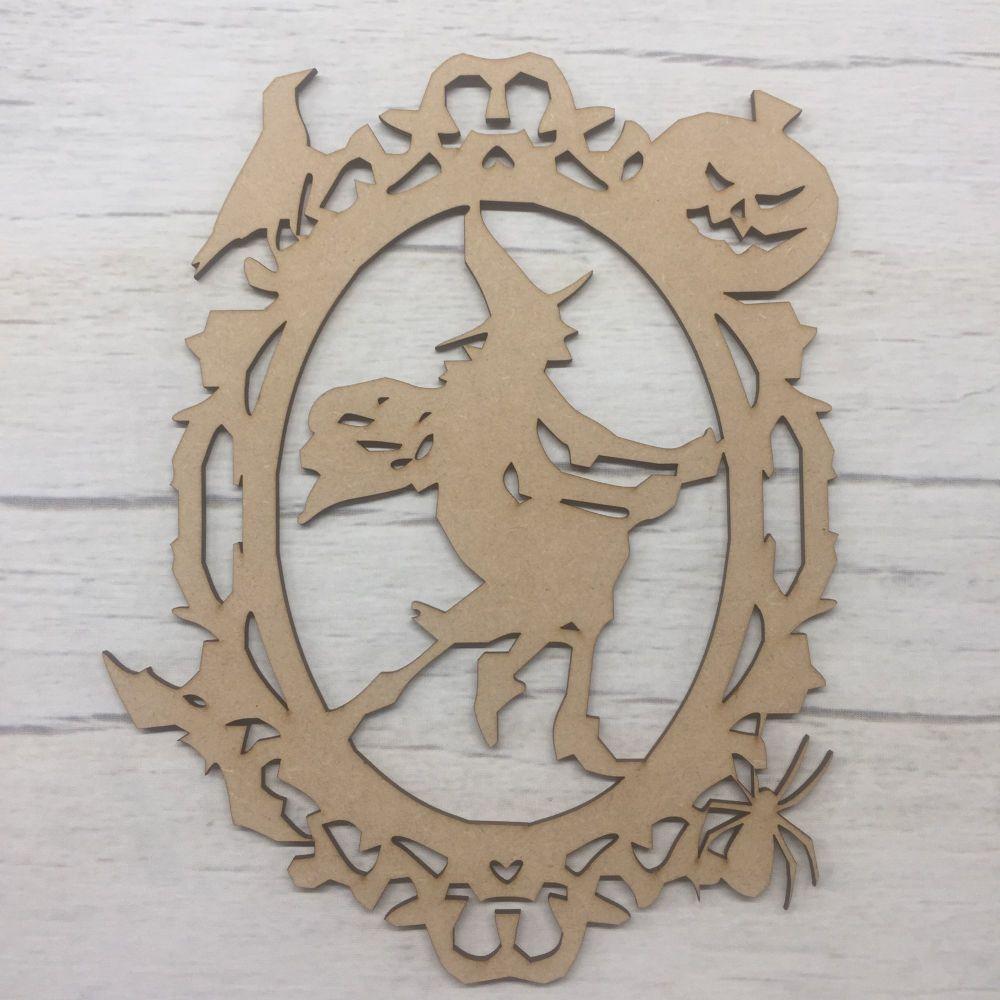 Wooden Scary Witch Halloween laser cut door plaque decoration