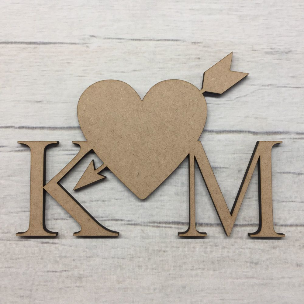 Personalised Initials with Heart and Arrow