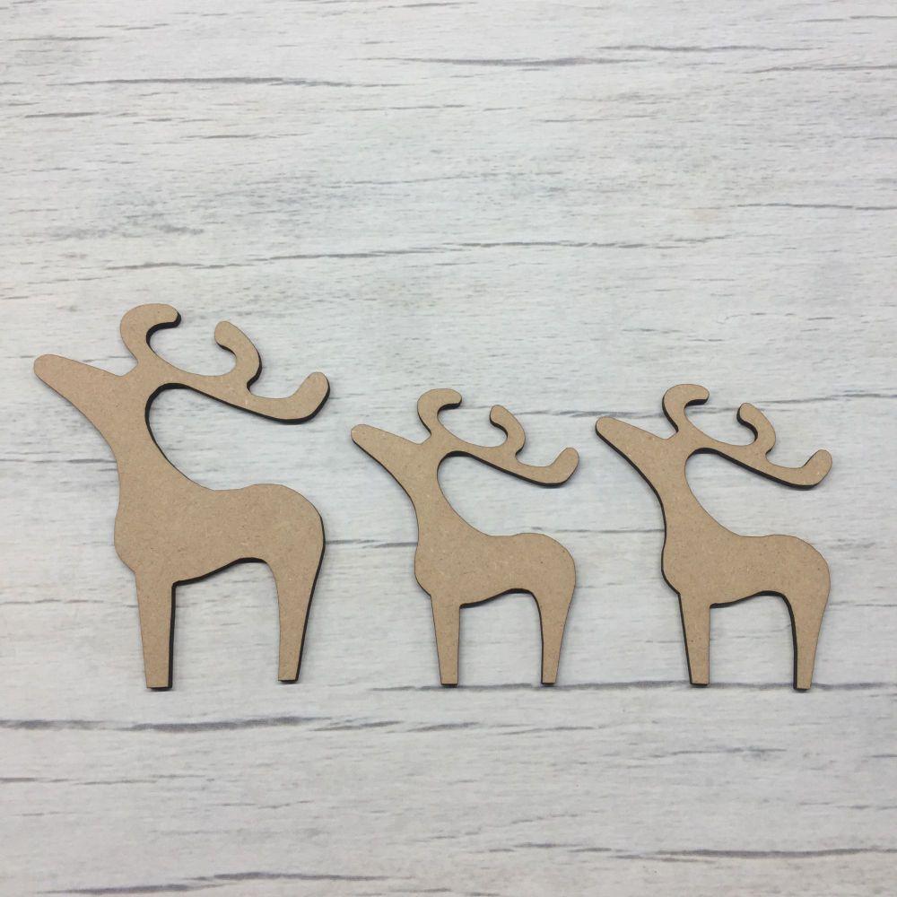 Three Wooden Stargazing Reindeer Freestanding craft animals set