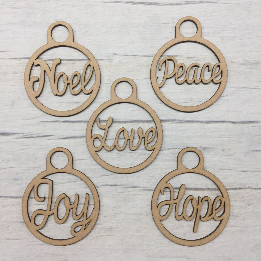 Wooden MDF craft Christmas tree Baubles words set