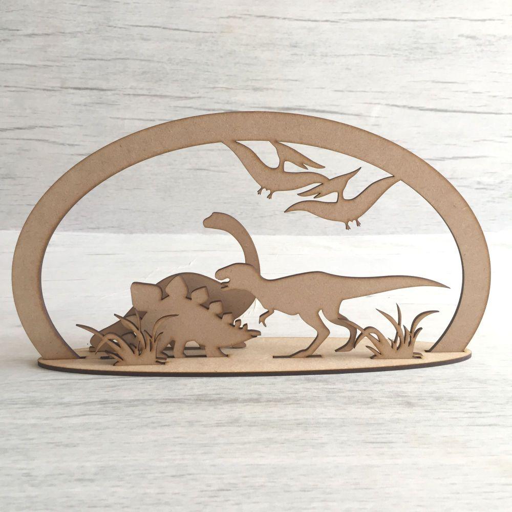 Wooden Dinosaur valley freestanding laser cut scene craft decoration