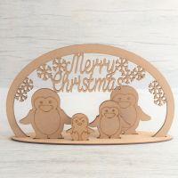 Christmas Penguin family scene - freestanding