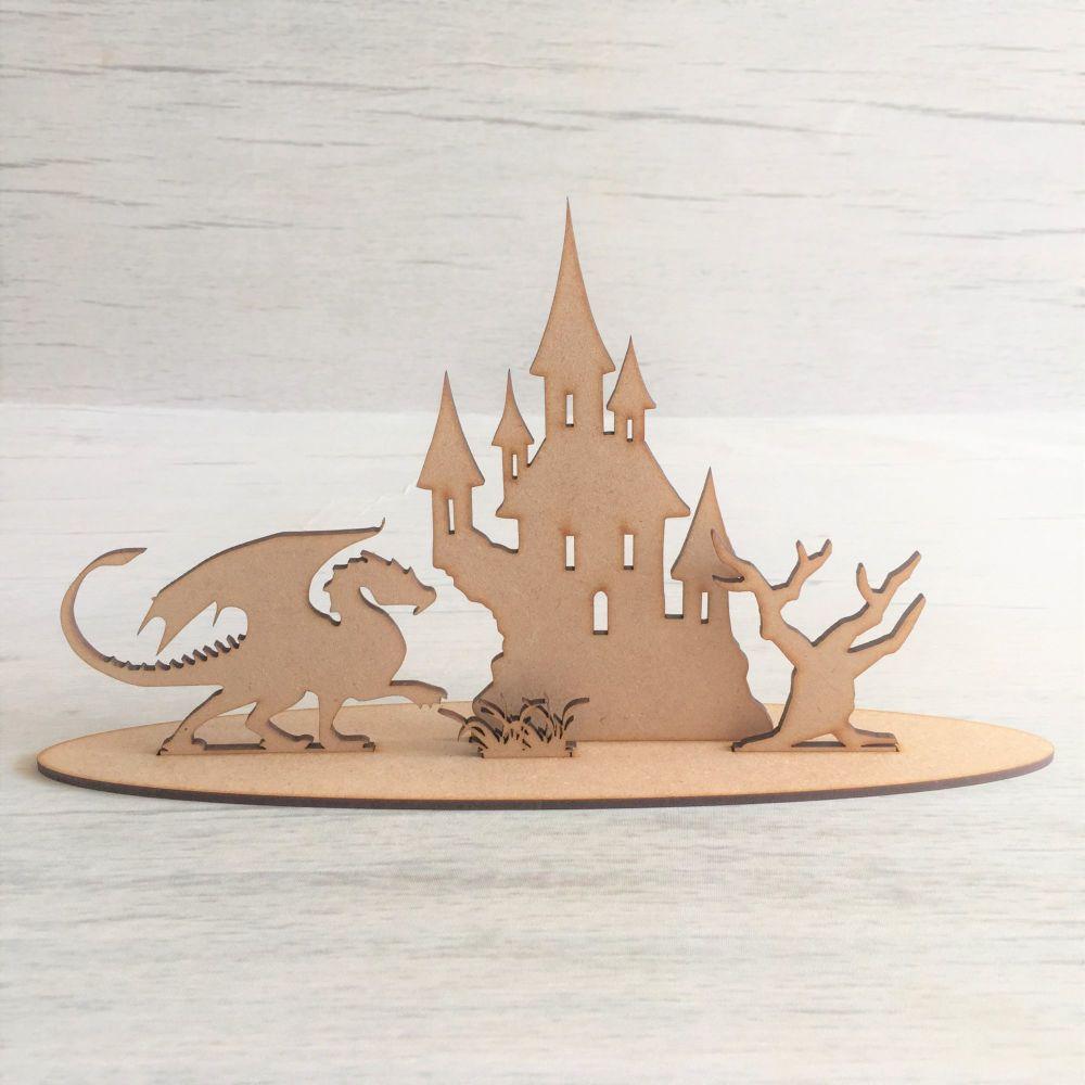 Wooden Dragon Castle freestanding laser cut scene craft decoration