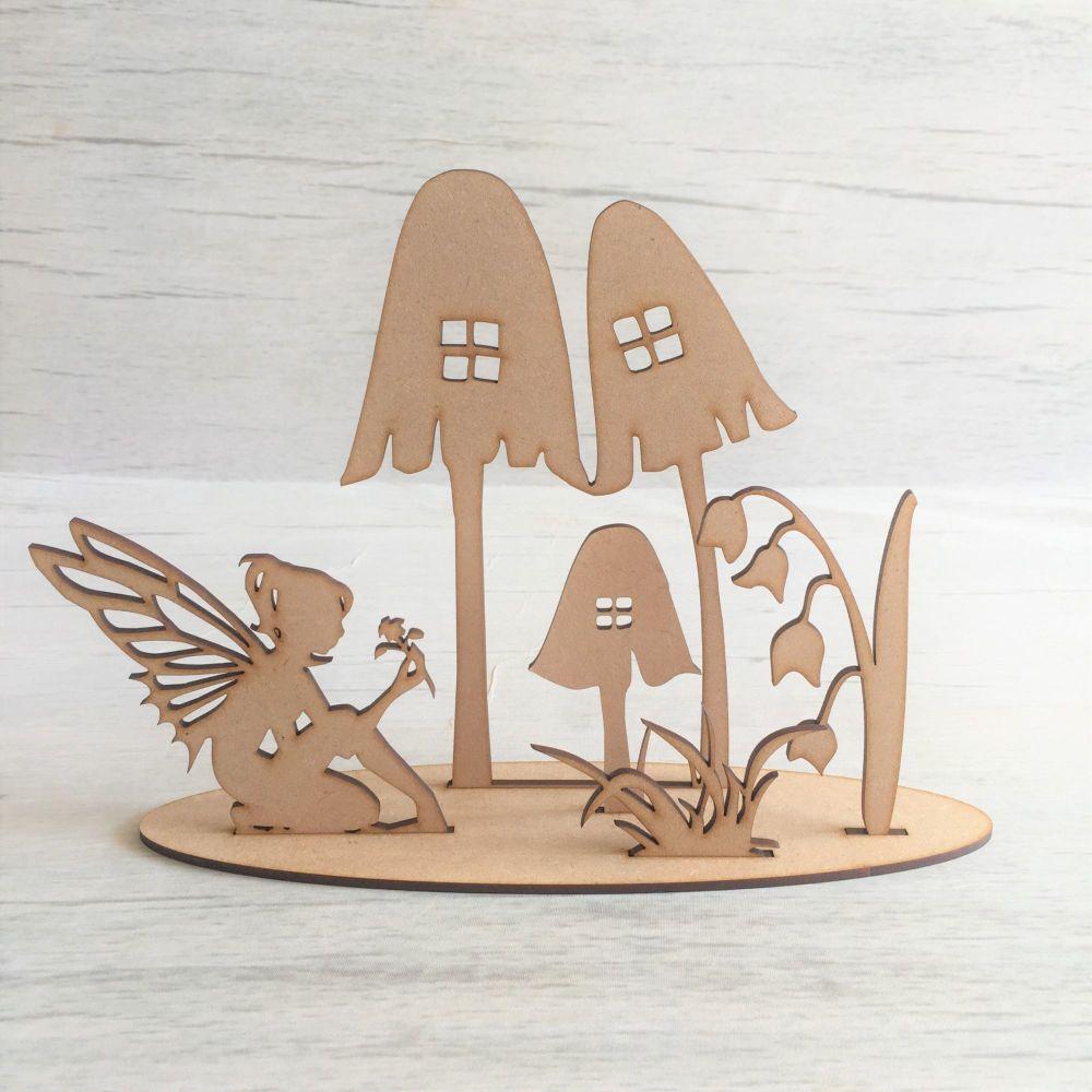 Wooden Fairy garden freestanding laser cut scene craft decoration