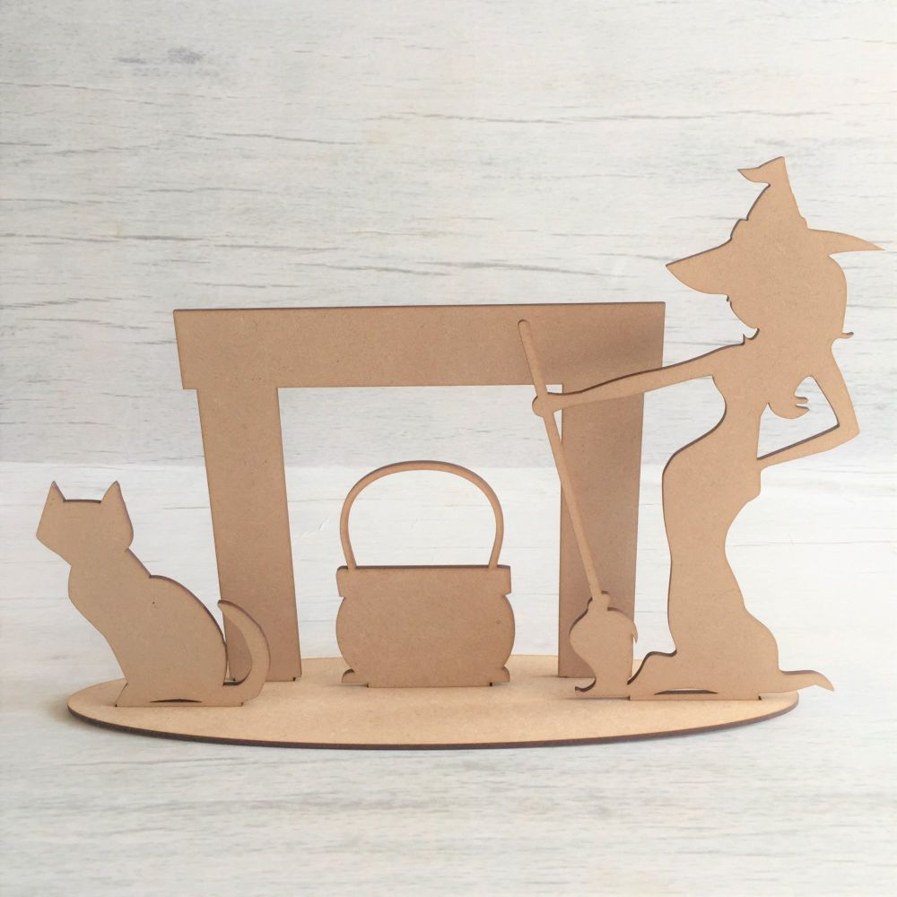 Wooden Spooky Witch freestanding laser cut scene craft decoration