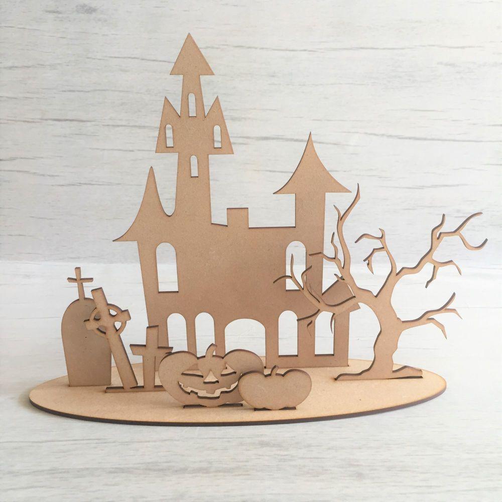 Wooden Spooky House freestanding laser cut scene craft decoration