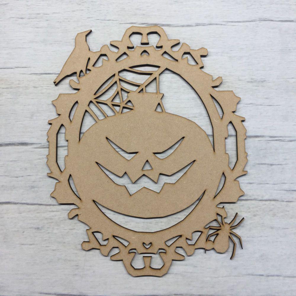 Wooden Scary Pumpkin Halloween laser cut door plaque decoration