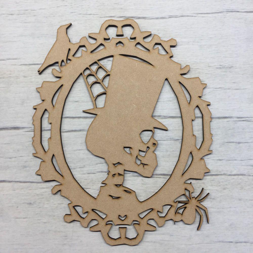 Wooden Scary Skull Halloween laser cut door plaque decoration