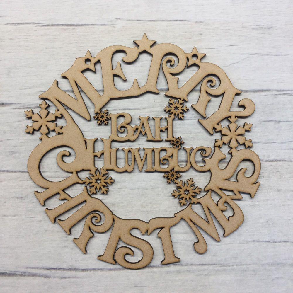 Christmas 'Bah Humbug' wreath hanging plaque