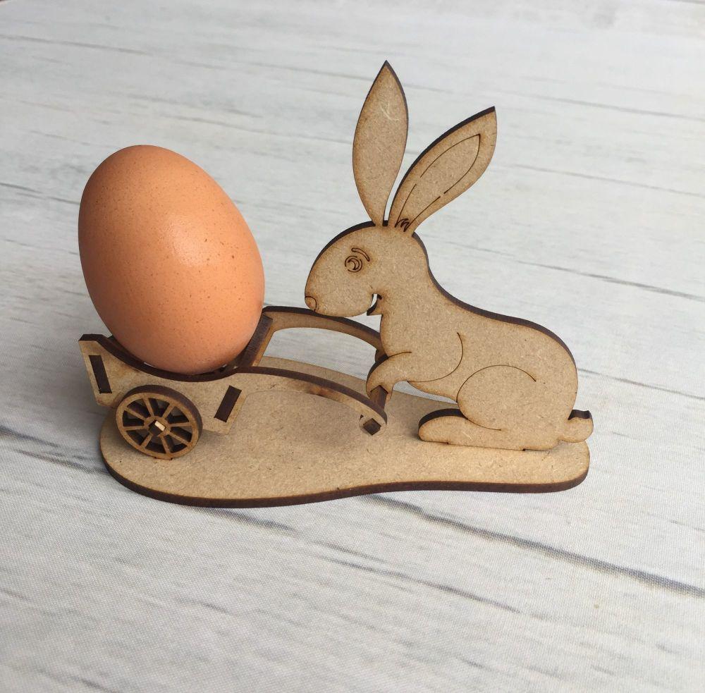 Wooden Easter bunny wheelbarrow egg cup laser cut decoration