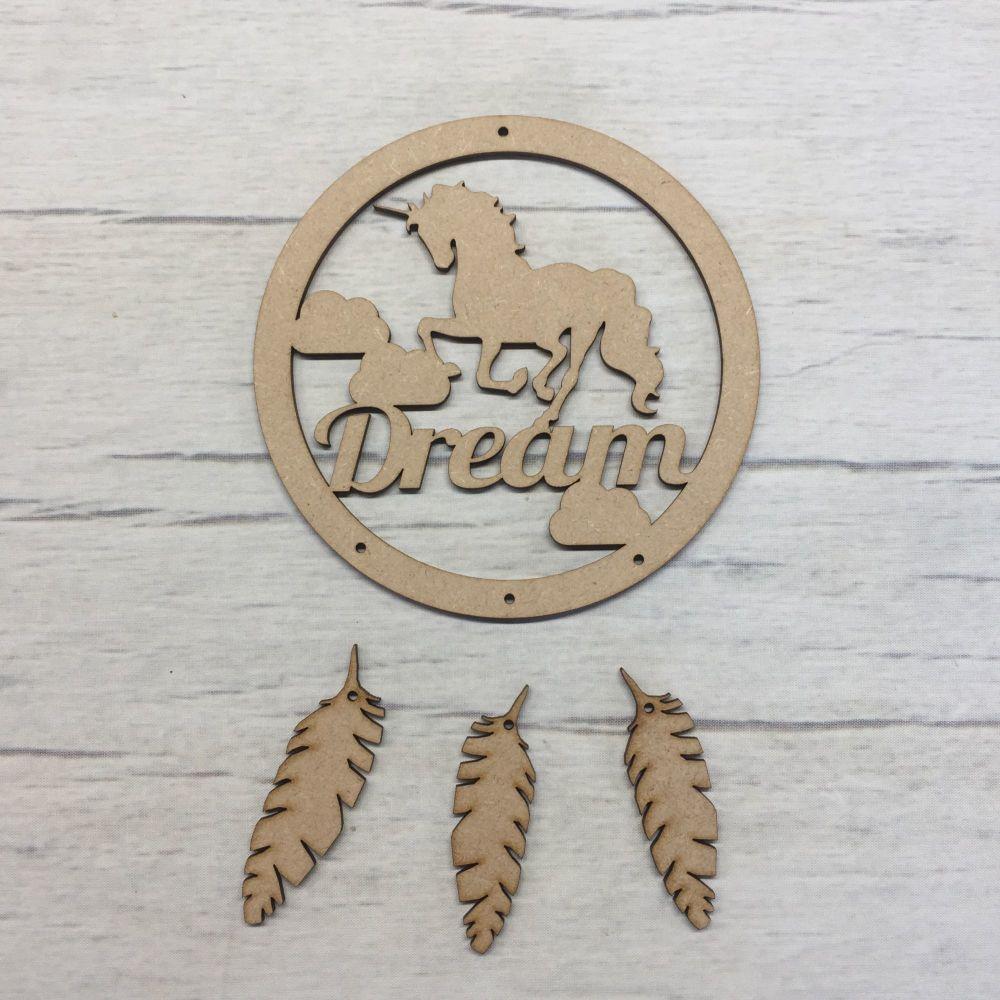 Unicorn dream mdf wooden dream catcher craft hanger
