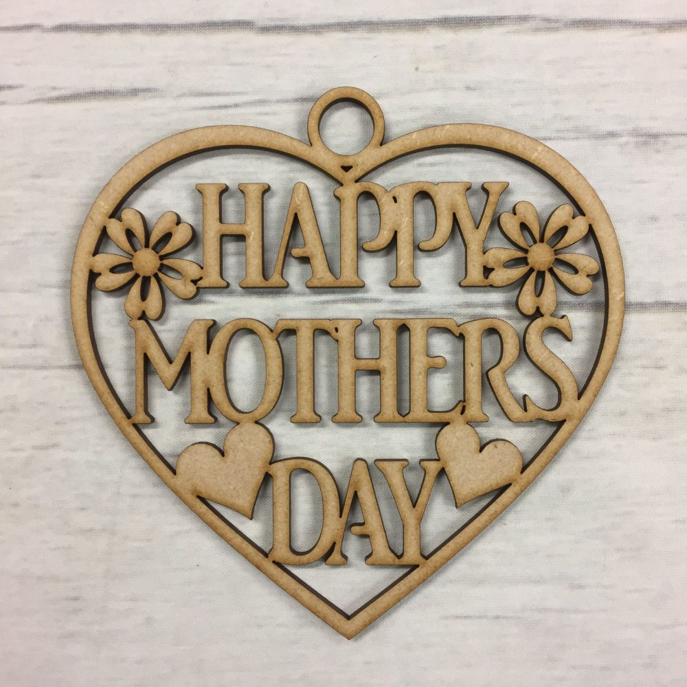 Wooden MDF Mothers day gift hanging heart craft