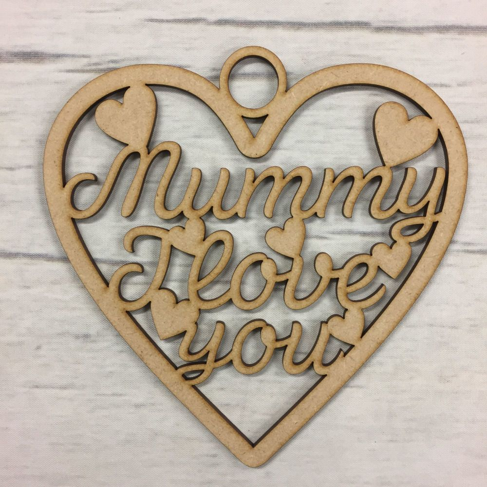 Wooden MDF Mothers day gift hanging heart craft 3