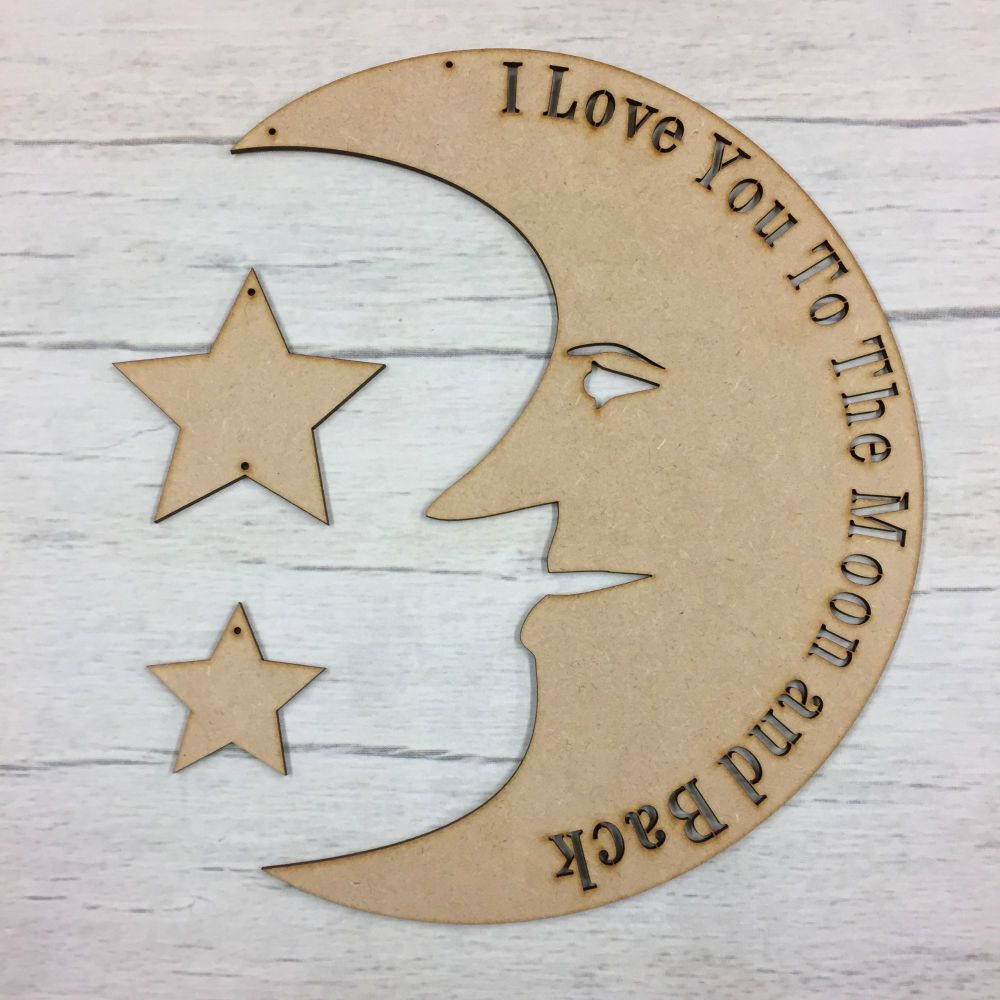 I love you to the moon and back' hanging plaque