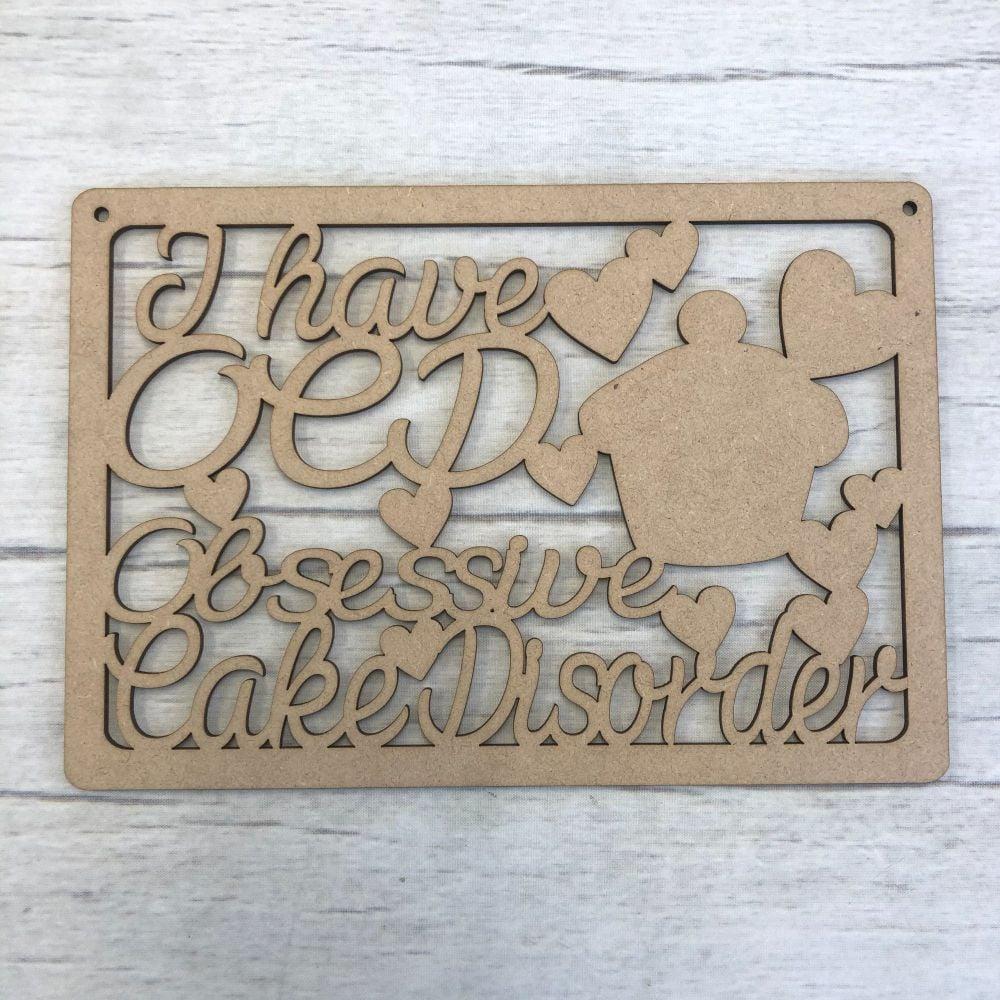 Wooden Cake disorder laser cut door plaque decoration