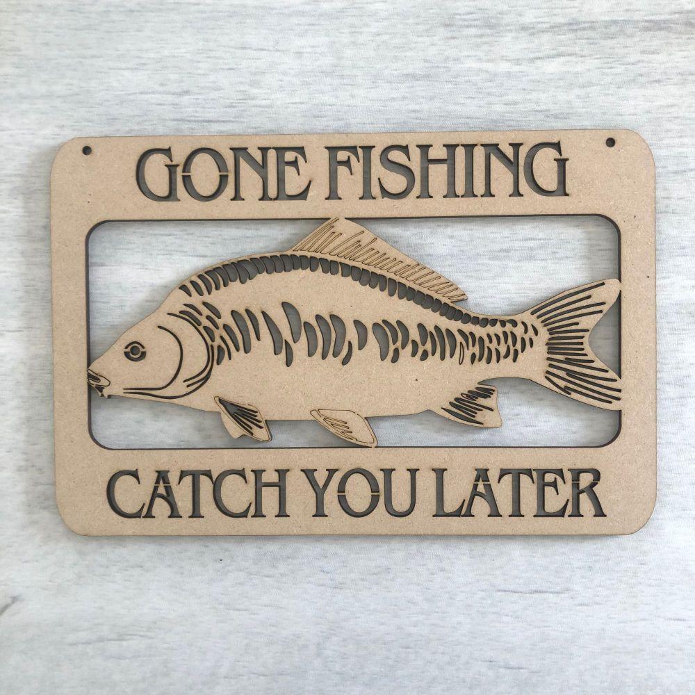 Wooden Gone Fishing laser cut door plaque decoration