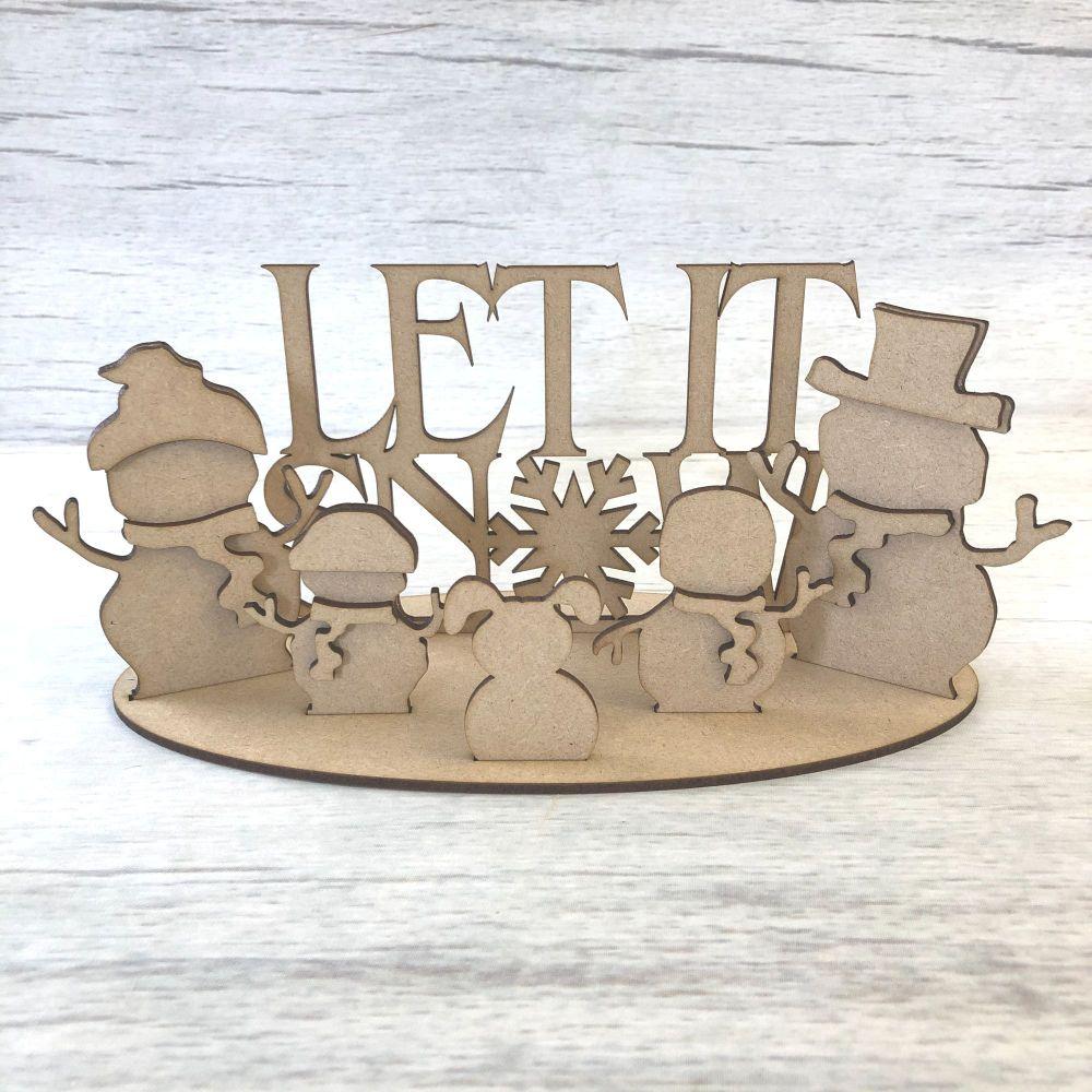 Christmas Snowman family scene  - freestanding