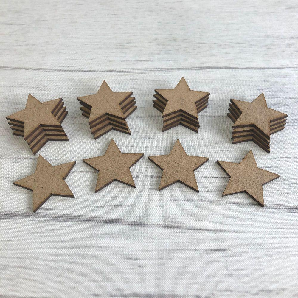 Embellishments set of 20 stars 3.5cm