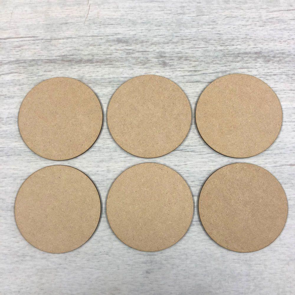 Coasters, set of six round blank shapes