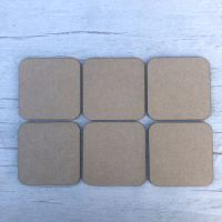 Coasters, set of six square blank shapes