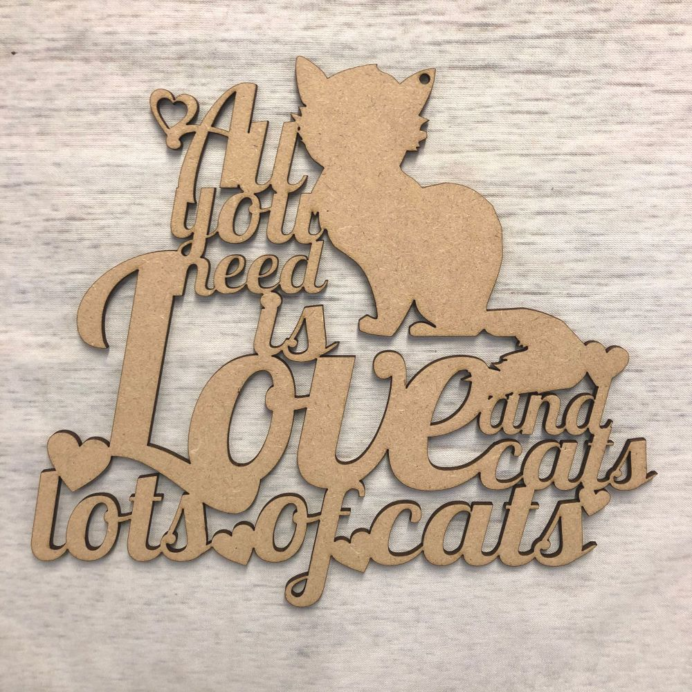 All you need is love, and cats..' - hanging plaque