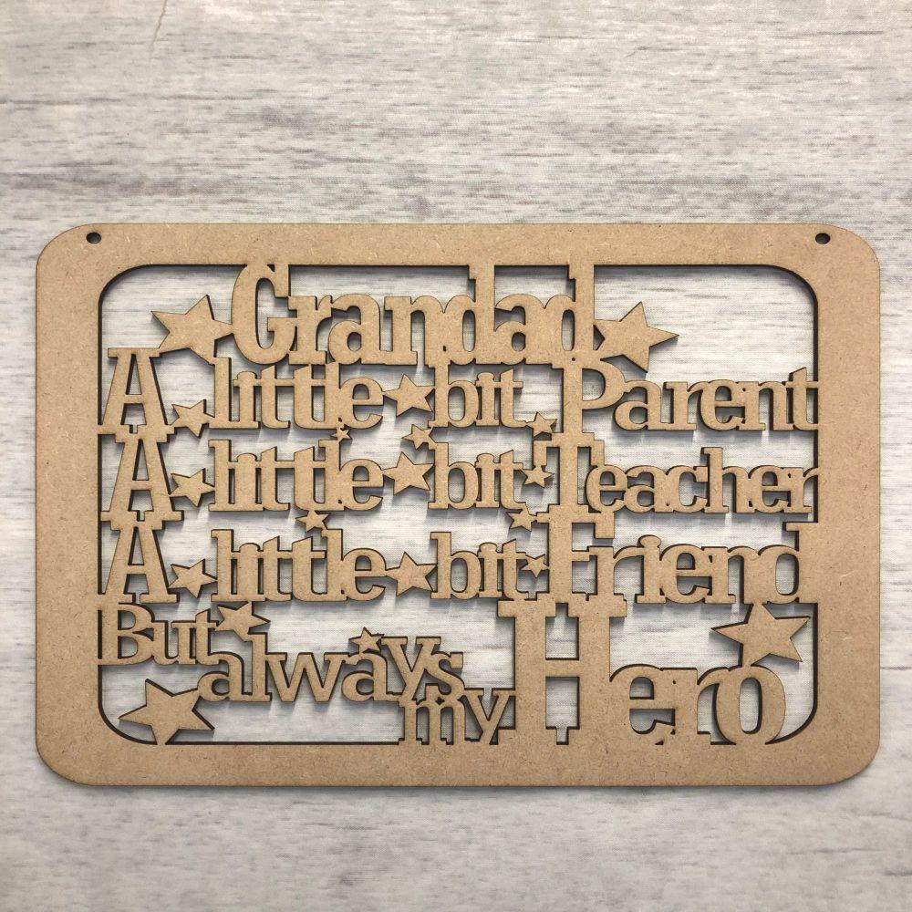 Grandad Hero plaque