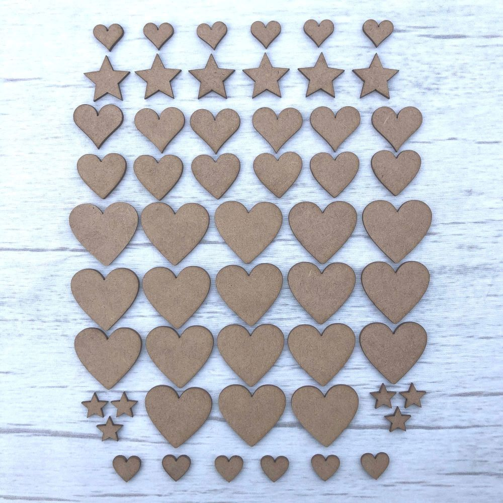 Embellishments set of 54 hearts and stars