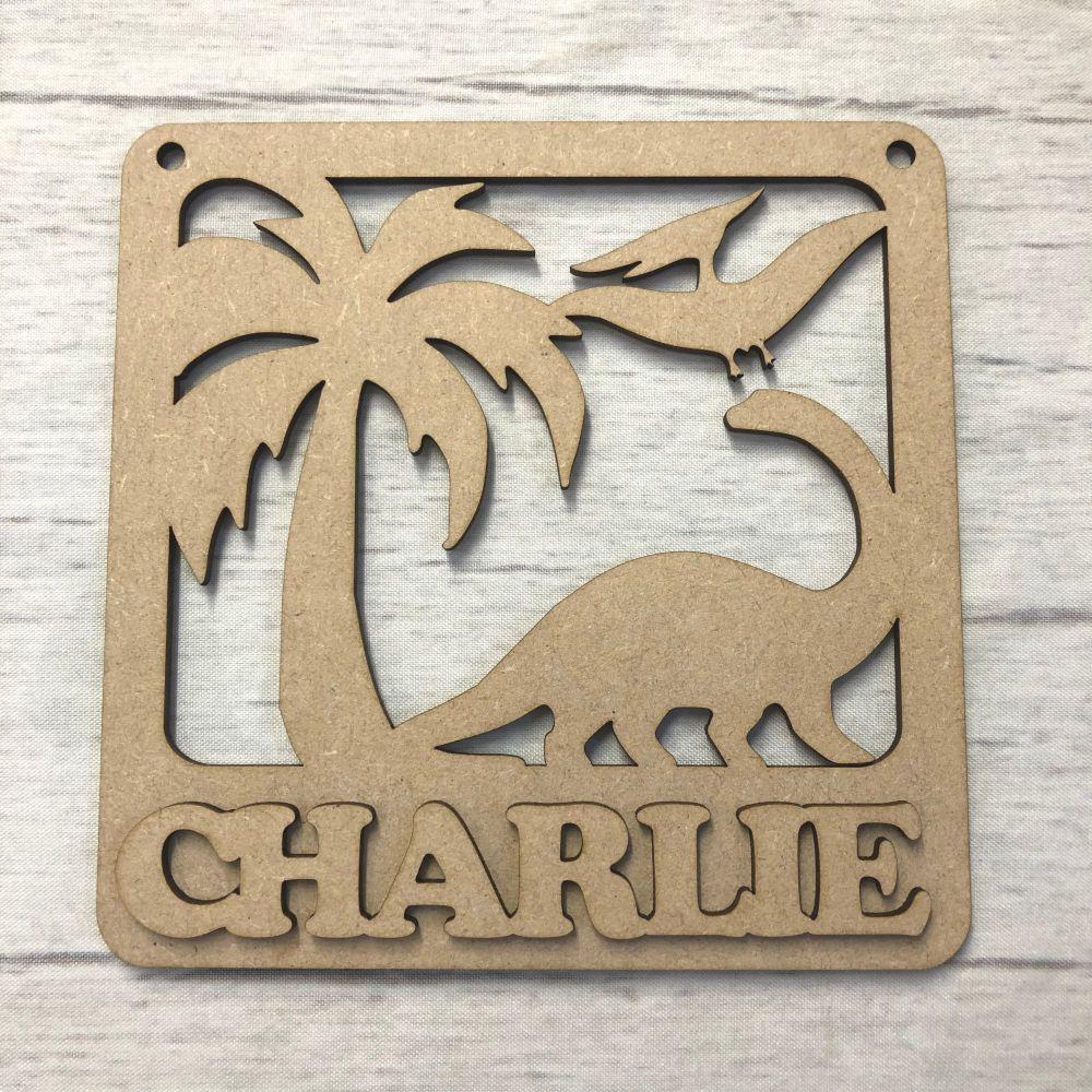 Nursery plaque - Personalised Dinosaur design