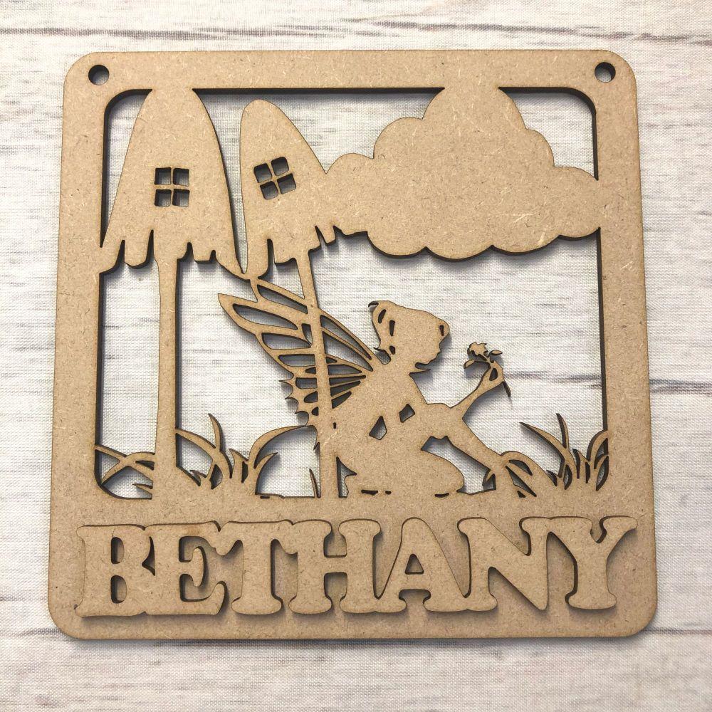 Nursery plaque - Personalised Fairy Garden design