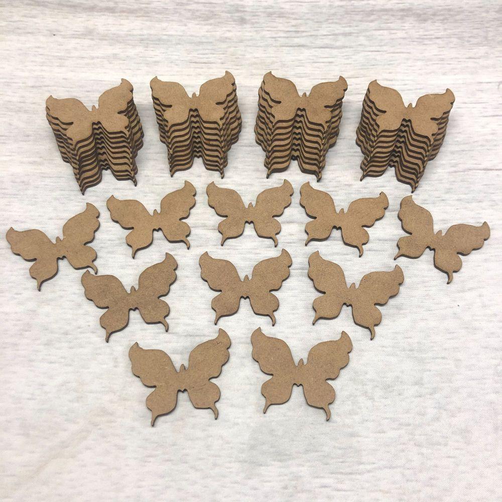 Embellishments set of 50 butterflies 5cm