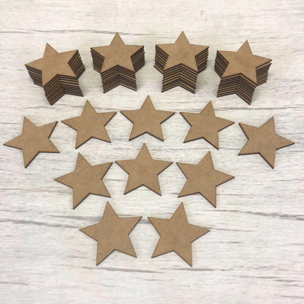 Embellishments set of 50 stars 5cm