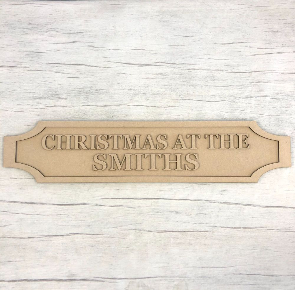 Christmas railway road sign plaque - customised