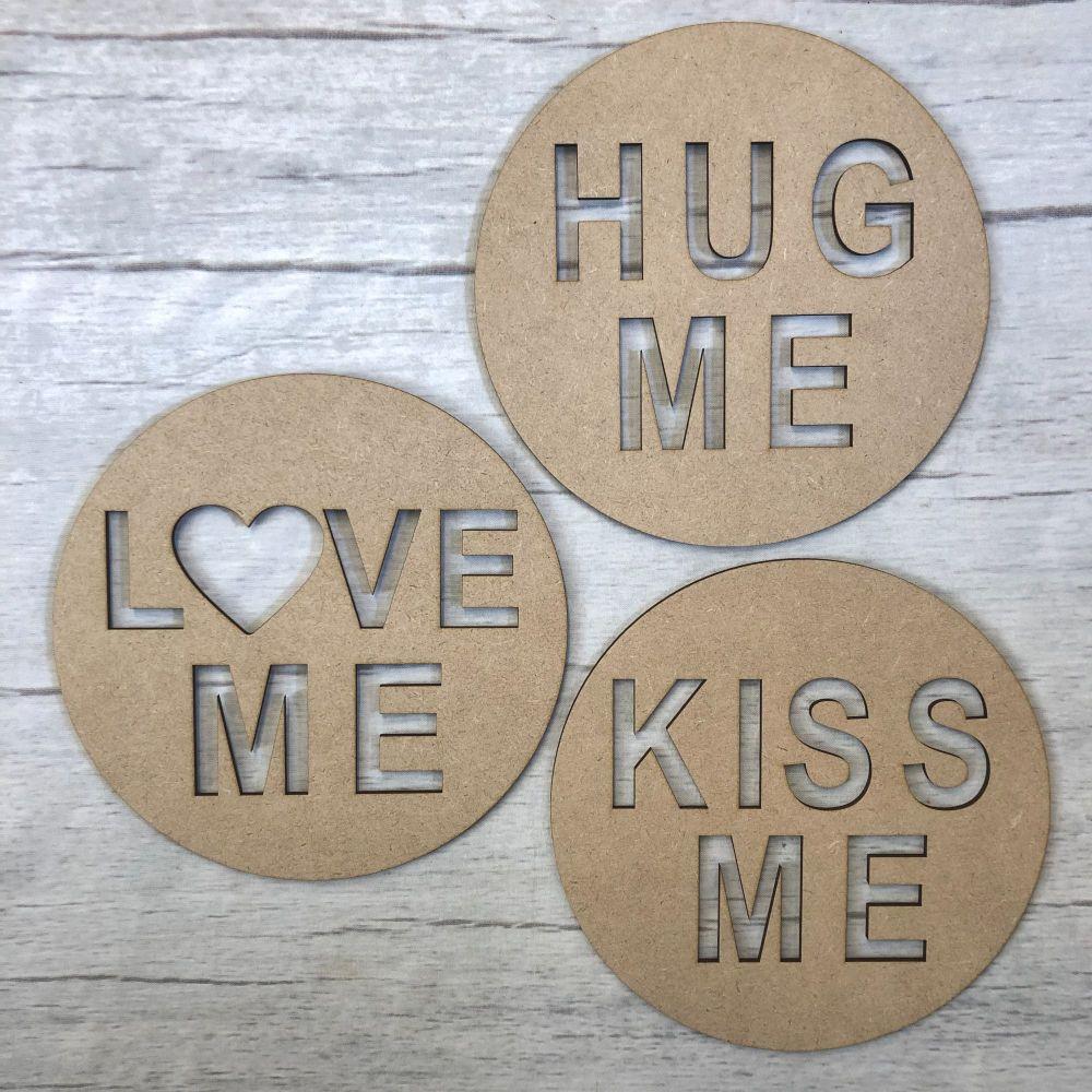 Love me Hug me Kiss me Plaques