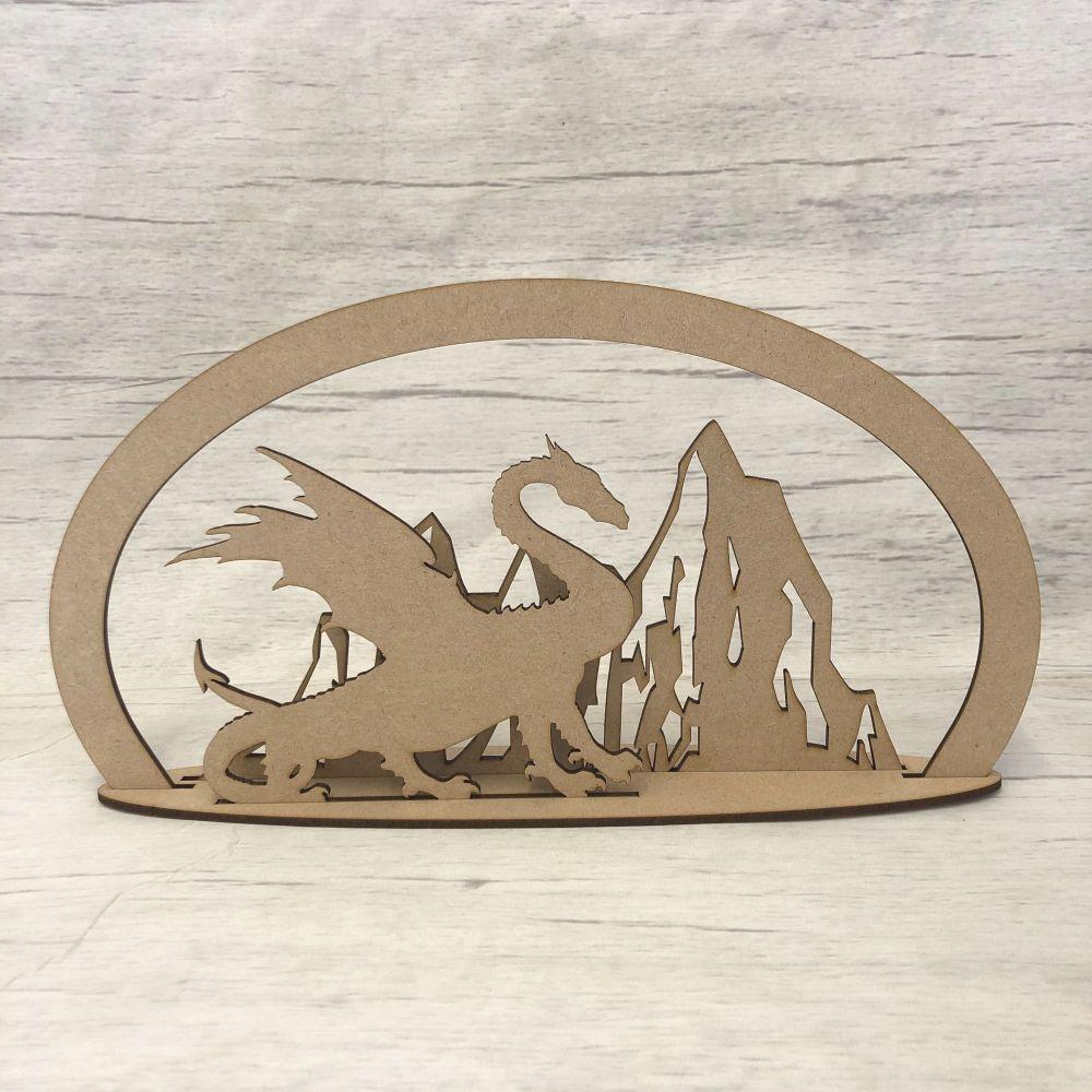 Dragon mountain scene - freestanding