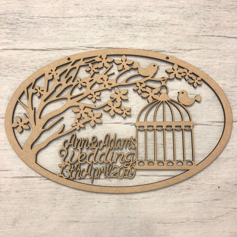 Birdhouse wedding plaque - Customised