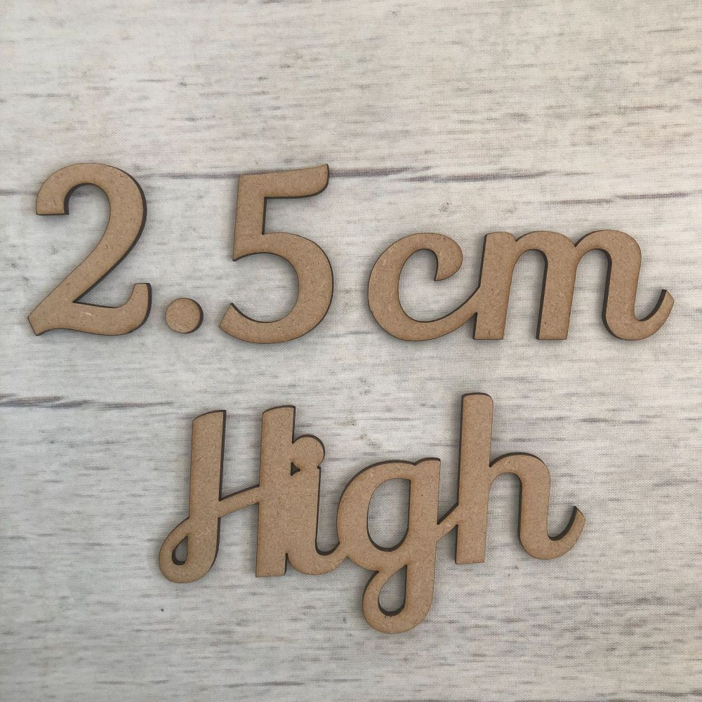 2.5cm high (6mm thick)